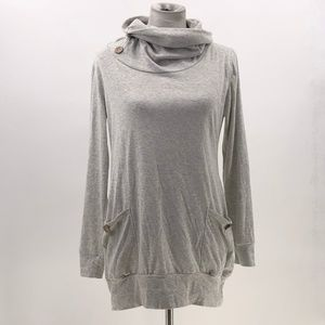 cowl neck heathered grey long sleeve button